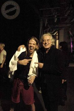 Jimmy Page with Taylor Hawkins of the Foo Fighters