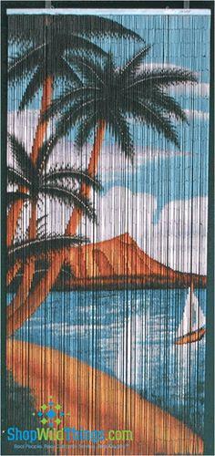 Palm Beach Serenity Scene - Bamboo Painted Beaded Curtain