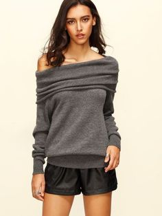 Grey Convertible Neck Long Sleeve Knitted T-shirt