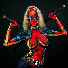 Woman Transformers Herself into Amazing Superheroes Using Body Paint - BlazePress