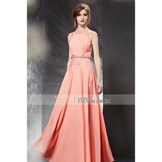 2015 Summer Pink High Collar Appliques Beading Belt Sleeveless Long... ❤ liked on Polyvore featuring dresses, sleeveless long dress, black beaded dress, black backless dress, kohl dresses and black applique dress