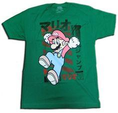 Super Mario Jumping Green T-Shirt
