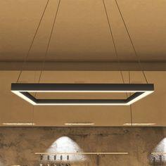 Vonn Lighting Atria Collection Black Aluminum/Acrylic/Metal 20-inch LED Adjustable Suspension Fixture Modern Square Chandelier (Black)
