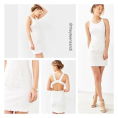 """Urban Outfitters White Ponte Lace-Skirt Mini Dress Charmingly feminine white mini dress from Urban Outfitters brand Kimchi Blue featuring a lace-embroidered mini skirt. Finished with a stretchy ponte fitted bodice, thick shoulder straps and a scoop-neck. """"Las Vegas"""" wedding and honeymoon ready. Urban Outfitters Dresses Mini"""
