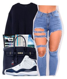 A fashion look from December 2017 by maiyaxbabyyy featuring Acne Studios, Hermès and NIKE Swag Outfits For Girls, Boujee Outfits, Cute Swag Outfits, Teenage Girl Outfits, Cute Comfy Outfits, Teenager Outfits, Dope Outfits, Jordan Outfits, Polyvore Outfits