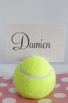 Tennis Ball Place Card Holder Tutorial. Tennis themed party ideas. http://www.polkadotbride.com/2013/01/diy-tennis-ball-placecard-holders-tutorial/