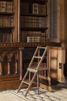 CASTLE LIBRARY Chair that converts into steps, in the Library at Penrhyn Castle, Gwynedd, built by Thomas Hopper for George Hay Dawkins-Pennant. Library Study Room, Library Chair, Future Library, Dream Library, Library Books, Library Inspiration, Library Ideas, Home Libraries, Home Office Furniture