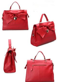 Genuine Cow Leather Handbag Elegant Bowknot Shoulder Bag