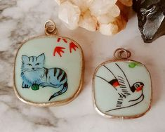 Lot 2 Vintage Hand Painted CAT & BIRD Milk Glass Silver Tn Artisan Pendant Set #Handmade #Pendant