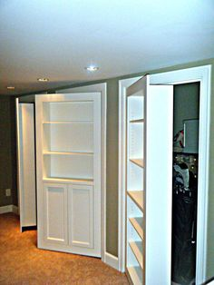 Clever Hidden Storage Built-ins - Basement storage??  Future space??? Hidden Spaces, Hidden Rooms, Attic Storage, Built In Storage, Basement Storage, Attic Organization, Hallway Storage, Media Storage, Door Storage