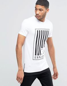 ASOS+Longline+Muscle+T-Shirt+With+Flag+Print+And+Contrast+Hem+With+Zips
