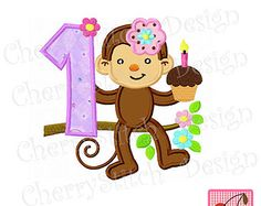 Birthday Moneky with number 1-for girls-Digital embroidery applique -4x4 5x7 6x10-Machine Embroidery Applique Design