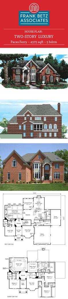 Paces Ferry: 4375 sq ft, 5 bdrm, luxury house plan design by Frank Betz Associates Inc. Home Design Plans, Plan Design, Design Ideas, Frank Betz, Luxury House Plans, House Floor Plans, Rocks, Houses, Flooring