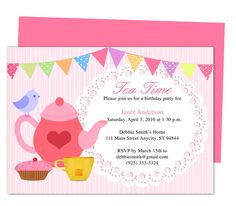 Afternoon Tea Party Invitation Party Templates Printable DIY Edit In Word,  Publisher, Apple IWork