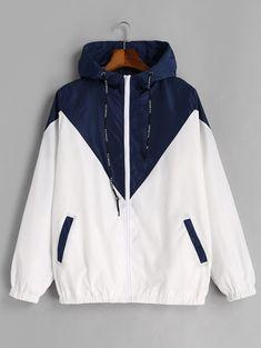 00f6f096f STYLE Spring Autumn Fashion Hooded Two Tone Windbreaker Jacket Zipper  Pockets Casual Long Sleeves Feminino Coats Outwear