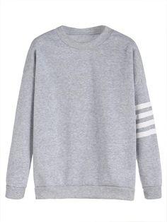 #ROMWE - #ROMWE Light Grey Sleeve Striped Dropped Shoulder Seam Sweatshirt - AdoreWe.com