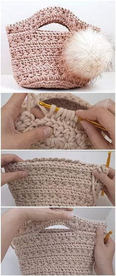 Crochet Bag Crochet Handbag Jasmine Stitch - Crochet beautiful handbag jasmine stitch it's very elegant and comfortable. That's why we are going to teach you ways to crochet this absolutely attractive and useful handbag. Crochet Video, Love Crochet, Beautiful Crochet, Easy Crochet, Crochet Yarn, Crochet Stitches, Crochet Slouchy Hat, Tutorial Crochet, Purse Patterns