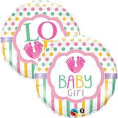"""Ce ballon en aluminium possède les inscriptions """"Baby Girl"""" et """"Love"""", une sur chaque face du ballon. Elles sont entourées de pois et de rayures pastel. Il est adapté au gonflage à l'air ou à l'hélium. Il est livré non gonflé.  Caractéristiques:  Diamètre"""