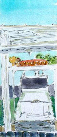 Charter boat in slip watercolor sketch art Journal visual diary