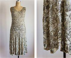 1920s silver sequins art deco dress / size by SwoonShopVintage