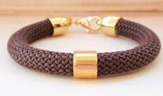 Chocolate brown rope bracelet, statement rope bracelet, chunky rope bracelet on Etsy, £7.54