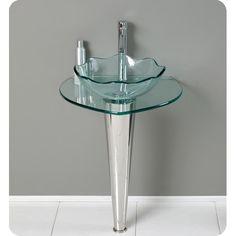 Fresca Netto Modern Glass Bathroom Vanity w/ Wavy Edge Vessel Sink is made of chrome hardware and has a glass basin. Small Pedestal Sink, Vessel Sink Vanity, Glass Vessel Sinks, Glass Vanity, Bathroom Sink Vanity, Glass Bathroom, Small Bathroom, Bathrooms, Bathroom Ideas