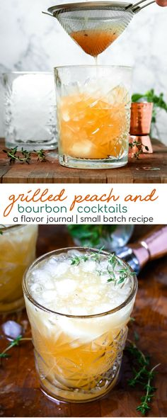 FRESH: ripe, juicy peaches and bourbon are mixed with fresh fruit juice for the ultimate grilled peach and bourbon cocktail. perfect for a summer evening on the patio! grilled peach and bourbon cocktails Bar Drinks, Cocktail Drinks, Cocktail Recipes, Alcoholic Drinks, Beverages, Cocktail Ideas, Peach Drinks, Bourbon Cocktails, Summer Cocktails