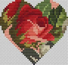 Rose Heart Free Cross Stitch Pattern Chart                                                                                                                                                                                 Mais