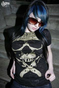 plus size etsy, black tee, womens skull clothing, plus size skull top, 1AEON Soft burnout tee with Epic Giant Golden Skull  - women's XXXL