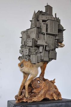 Pim Palsgraaf Multiscape Sculptures - The Pim Palsgraaf 'Multiscape' sculptures show the clash between urban environments and nature, using taxidermy animals and models of metropolit. Taxidermy Fox, Modern Art, Contemporary Art, Modern Metropolis, City Scene, Installation Art, Sculpture Art, Art Reference, Concept Art