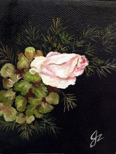 Rose and Hydrangea in oil by Jacqueline Zuckerman