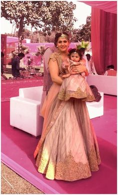 Mother & Baby In A Matching Light Pink #Lehenga.