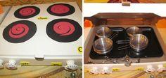 Cocinita de juguete hecha con cajas de pizza #manualidades #reciclaje #juguetes