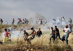 holy shit ... ! Asira al-Qibliya, West Bank: Palestinians run from teargas fired by Israeli security forces during clashes with Jewish settlers Photograph: Nasser Ishtayeh/AP