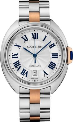 "Clé De Cartier​ 'Two-Tone' Watch For Men In Steel & Gold - Ariel @ Forbes ""At the beginning of 2015, Cartier debuted the brand new 'Clé' watch family that was a fresh case design and timepiece concept for both men and women... At launch, Cartier presented Clé models exclusively in 18k white or pink gold precious metal cases. No steel models were available..."" then learn & see more about the new collections in our hands-on here: http://www.ablogtowatch.com/cartier-cle-de-cartier-watch/"