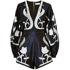 Alice McCall Loving Feeling Embroidered Playsuit (2,540 CNY) ❤ liked on Polyvore featuring jumpsuits, rompers, navy, navy romper, deep v neck romper, long-sleeve romper, playsuit romper and long-sleeve rompers