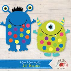 My monster by decs for the fall semester! Monster 1st Birthdays, Monster Birthday Parties, First Birthdays, Dulceros Halloween, Holidays Halloween, Monster Party, Pom Pom Mat, Preschool Crafts, Crafts For Kids
