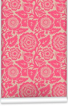 Block Print Blossom Wallpaper in Wicked Pink by Milton & King
