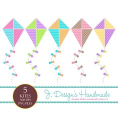 Cute Kites Digital Clipart   These are 5 colorful large high resolution kites with transparent backgrounds! These are all handmade by me.