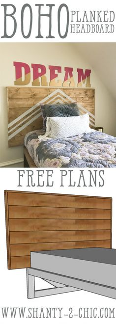 Build this DIY Planked Headboard for only $50! Perfect project for beginners and easy to customize! Free plans at www.shanty-2-chic.com
