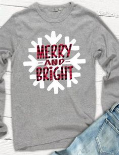 Merry and Bright Tshirt, Christmas Tshirt, Buffalo Plaid Tshirt, Snowflake Tshirt, Plus Size Holiday Christmas Vinyl, Plaid Christmas, Christmas Pajamas, Christmas Presents, Christmas Monogram Shirt, Christmas Phrases, Christmas Fashion, Christmas Time, Merry Christmas