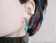 Blue And Green Dragon Fantasy Cartilage Connected by merigreenleaf, $11.99