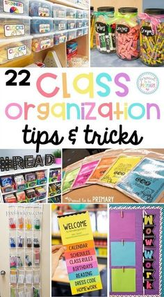 22 organization tips and tricks for the classroom that will help teachers get organized and set-up their classroom! Tons of back to school tips to organize teaching materials, student work, books, math supplies, and more. You won't want to miss the FREE student labels! #classroomorganization #classroommanagement #teachertips