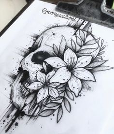 Archive of sketches for tattoos. Dope Tattoos, Leg Tattoos, Body Art Tattoos, Sleeve Tattoos, Tatoos, Tattoo Sketches, Tattoo Drawings, Art Sketches, Skull Tattoo Design