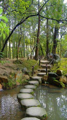 Stepping stones ~ Tenjuan Gardens ~ Kyoto, Japan • by Sharilyn Anderson