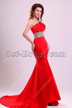 Charming Red Sheath Short Train Celebrity Dresses:1st-dress.com