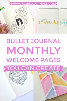 Find ideas and inspiration for Bullet Journal monthly welcome pages that you can recreate yourself. Examples for the beginner artist through to expert level.