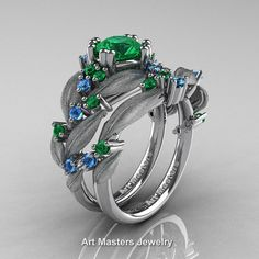 Nature Classic 14K White Gold 1.0 Ct Emerald Blue by DesignMasters