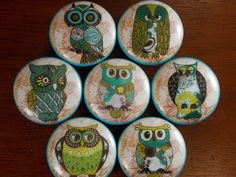 Set of Six or Seven Owls Dresser Knobs by dynastyprints on Etsy Home Furniture, Furniture Design, Dresser Knobs, Coasters, Decorative Plates, Home And Garden, Owls, Unique Jewelry, Handmade Gifts