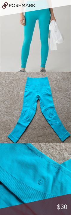 Lululemon Crop Zone In Crop in peacock blue, size 6. Gently used, 7/8 length, compression fit. Seamless legging lululemon athletica Pants Leggings